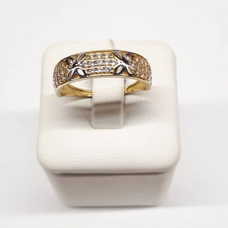 Złoty pierścionek cyrkonie i kwiatki