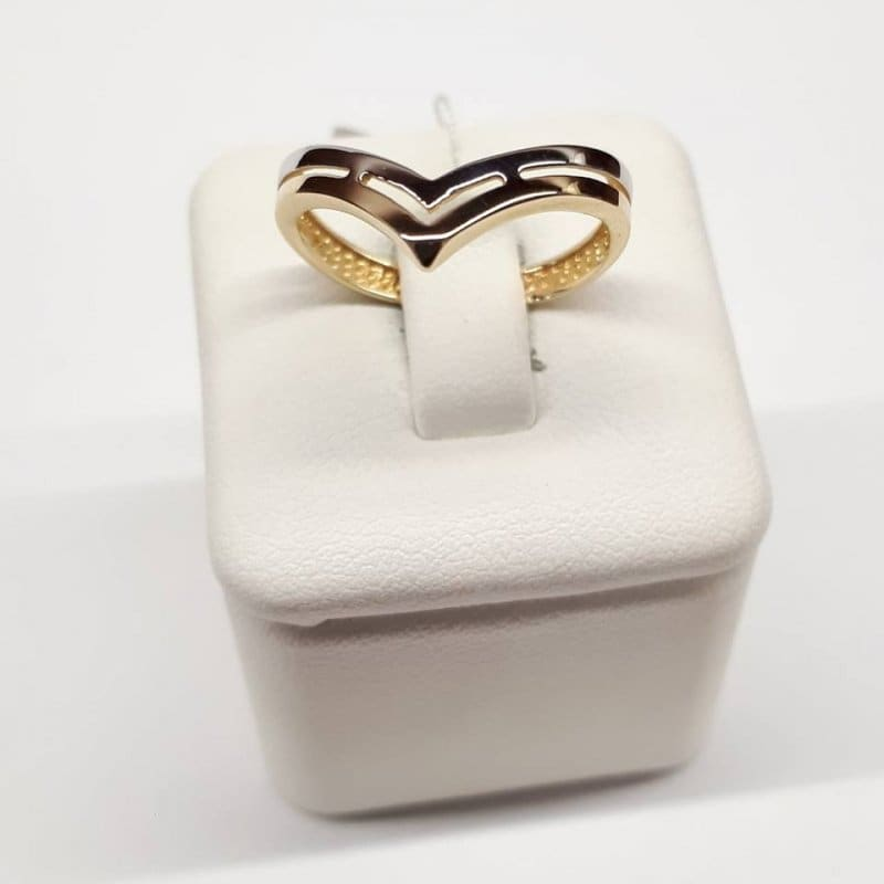 Złoty pierścionek dwukolorowy