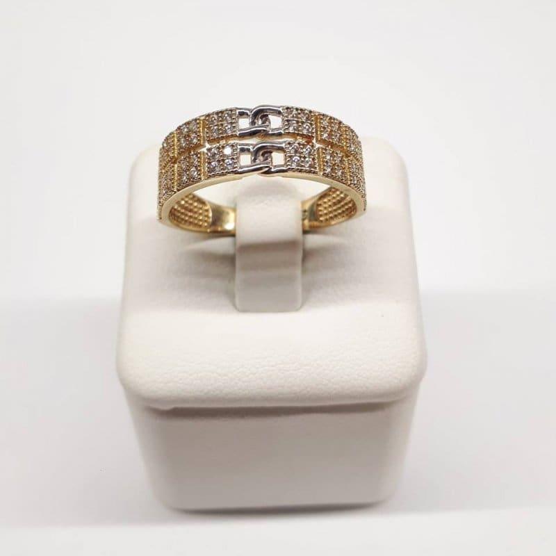 Złoty pierścionek kwadraciki