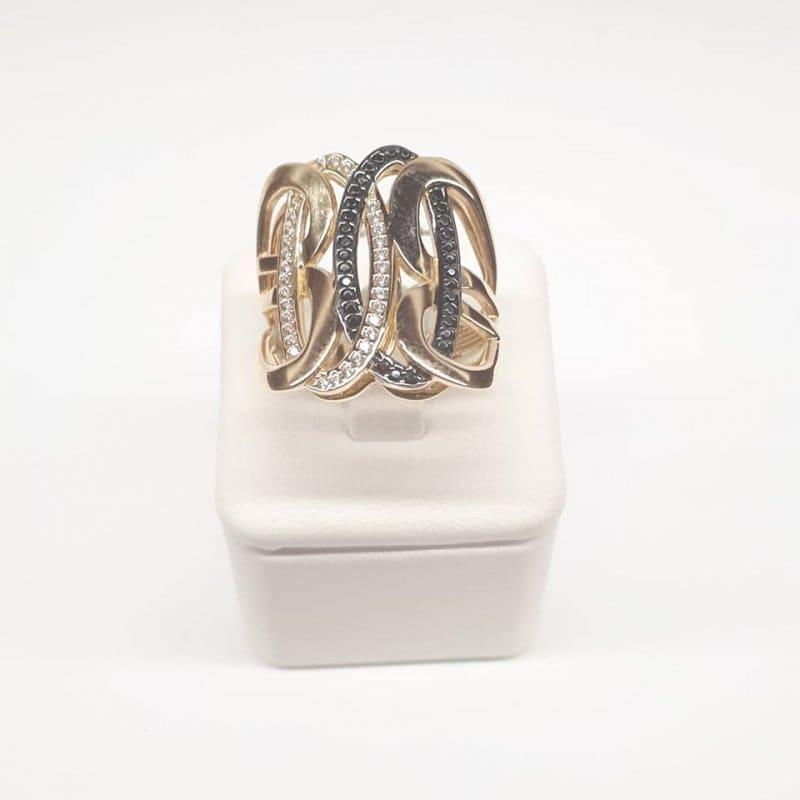 Złoty pierścionek czarno-białe cyrkonie