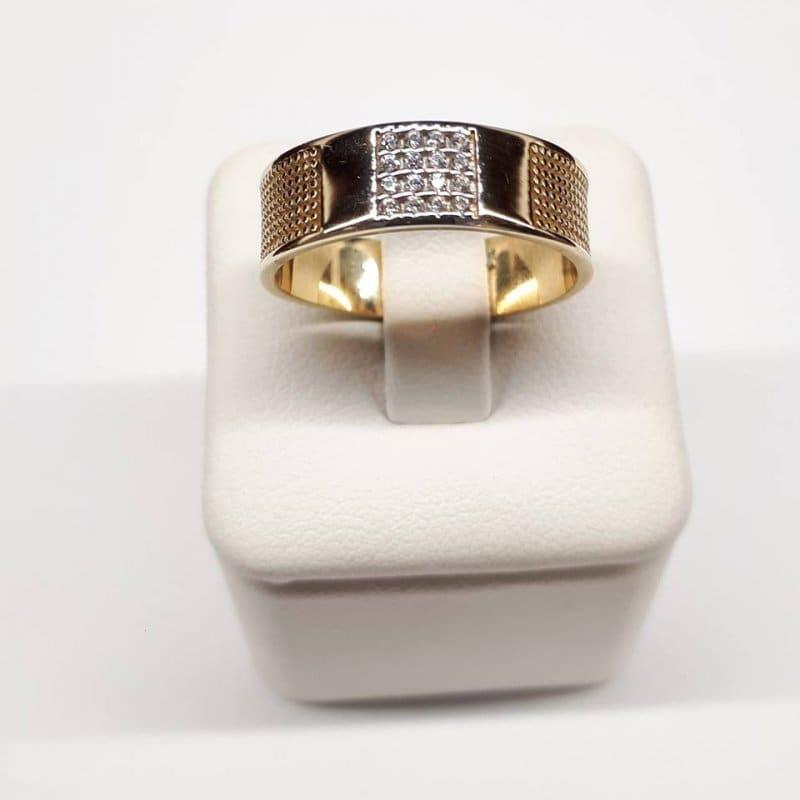 Złoty pierścionek obrączka ozdobna