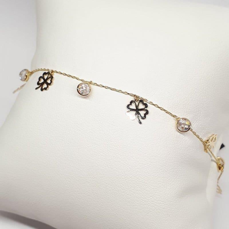 Złota bransoletka z  koniczynką i kryształkami