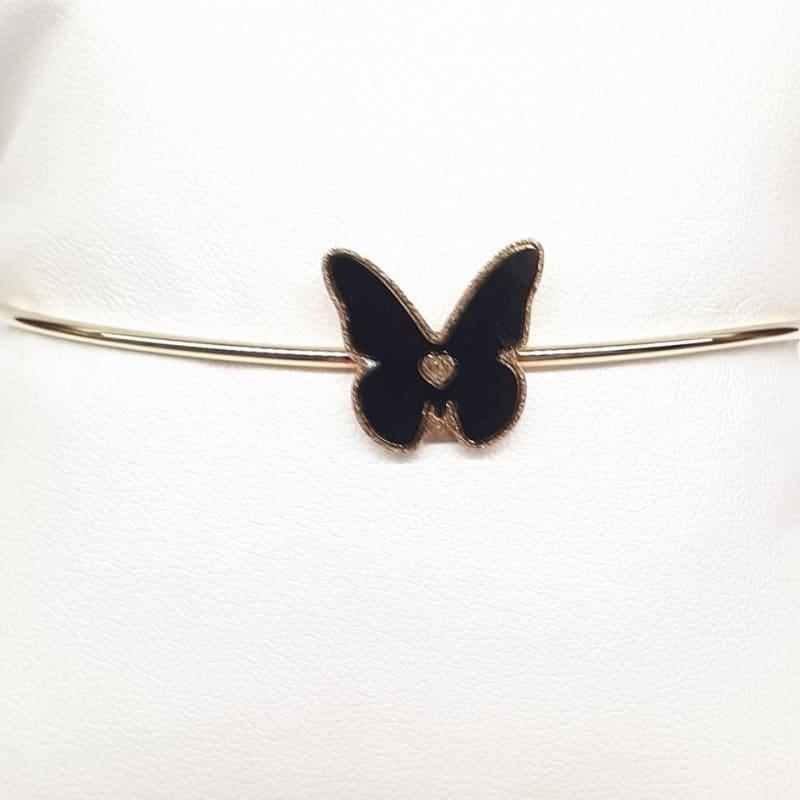 Złota bransoleta z motylem (sztywna z zapięciem)