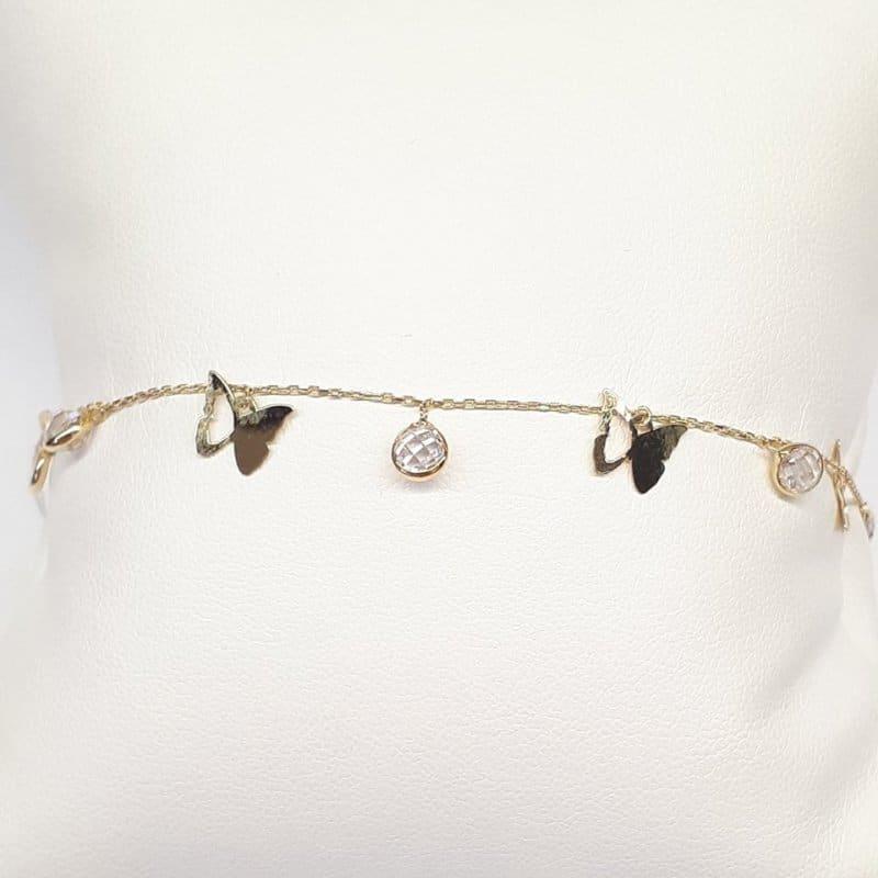 Złota bransoletka z motylkami i cyrkoniami